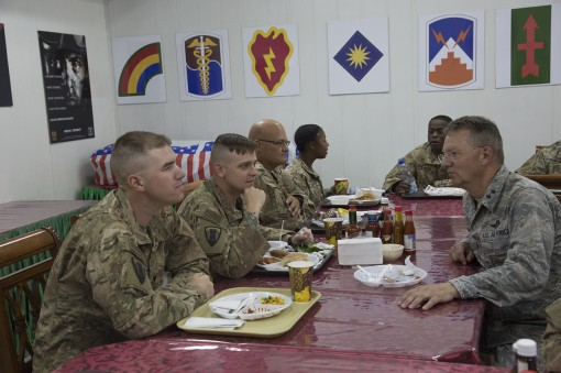 Major General Anthony German the Adjutant General of New York meets with Soldiers of the 1156th Engineer Company during a visit to Camp Arifjan Kuwait on May 17 2017. Leaders of the New York National Guard visited New York Army National Guard Soldiers ser