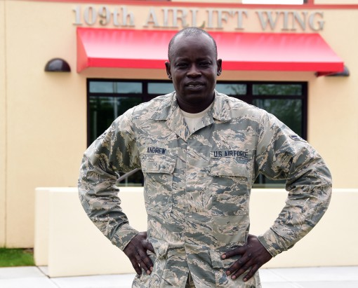 Airman 1st Class Frances Andrew is assigned to the 109th Airlift Wings Command Support Staff here. Andrew first arrived in the United States in 2001 at the age of 21. He grew up in a refugee camp from the age of 7 and is known as one of the Lost Boys of S