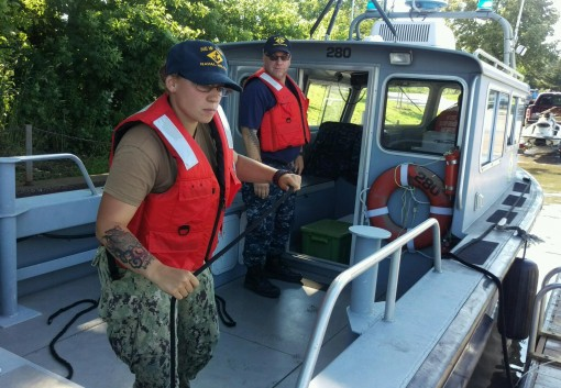 New York Naval Militia Petty Officer Alaina Visconte a Rochester resident and Petty Officer Matthew MacDowell also of Rochester prepare to head out onto Lake Ontario on board New York Naval Mililitia Patrol Boat  280 in Greece N.Y. on July 2 2017. The boa