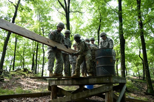 New York National Guard Soldiers, students in the Future Leader Course, work through an obstacle on the Leader Reaction Course on the Camp Smith Training Site, Cortlandt Manor, N.Y., July 15, 2017. The Leader Reaction Course is meant to help Soldiers lear