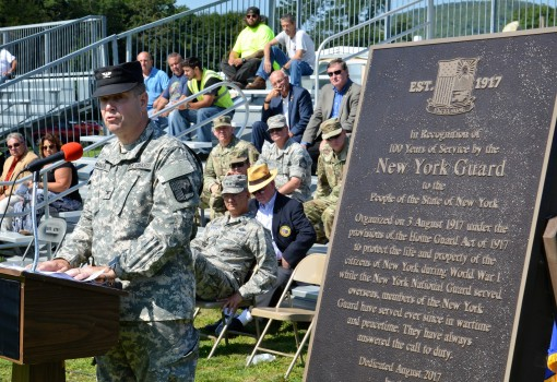New York Guard Acting Commander Col. David Warager speaks during a ceremony marking the 100th anniversary of the state defense force held on August 9, 2017 at Camp Smith Training Site in Cortlandt Manor, N.Y. The New York Guard was created to replace the