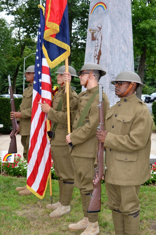 Soldiers of the 42nd Infantry Division's color guard present arms on Saturday, August 12, 2017 during a ceremony marking the centennial of the division's founding and creation at Camp Mills in Garden City, N.Y. in 1917. At a ceremony organized b