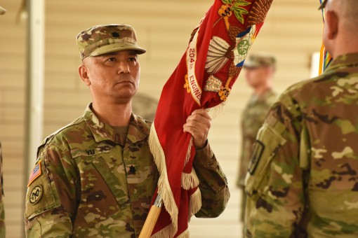 -N.Y. Army National Guard  Lt. Col. Wing Yu takes command of the 204th Engineer Battalion during a ceremony in Johnson City N.Y. on Oct. 15 2017. The battalion has elements in Horseheads, Binghamton, Walton and Buffalo.