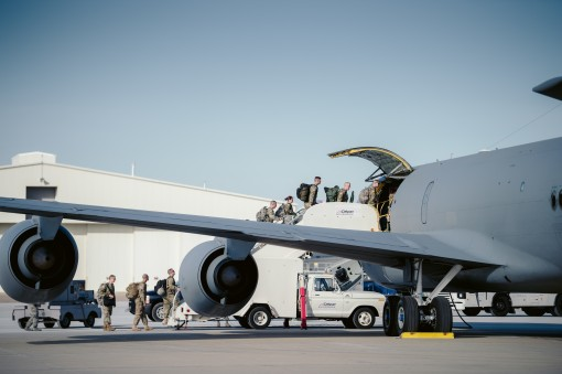 Members of the 152nd Engineer Support Company New York Army National Guard board a KC-135 Stratotanker from the 157th Air Refueling Wing Pease Air National Guard Base New Hampshire Air National Guard to Puerto Rico Niagara Falls Air Reserve Station N.Y. O