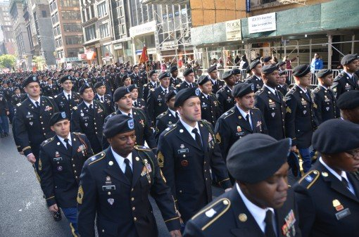 Soldiers of the 369th Sustainment Brigade march down  Fifth Avenue in New York City during the Veterans Day Parade on Nov. 11, 2017. More than 300 of the brigade's Soldiers took part in the annual New York City Veterans Day Parade.