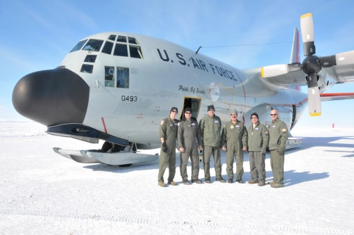 This LC-130 Skibird crew landed at the South Pole Station with minimum visibility and maximum crosswinds and then were forced to make an emergency weather divert to Terra Nova Bay when extreme weather made it unsafe to land at McMurdo Station on Nov. 9 20