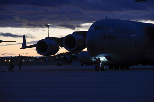 A C-17 Globemaster III originally assigned to McChord Air Force Base arrives at Stewart Air National Guard Base New York Nov. 16 2017. The 105th Airlift Wing was loaned the jet to keep up with a sharp increase in operations tempo.