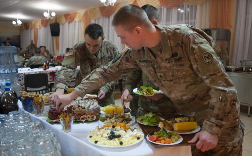 New York Army National Guard  Soldiers assigned to the Joint Multinational Training Group  Ukraine host a Christmas dinner at the Yavoriv Combat Training Center near Yavoriv Ukraine. Currently more than 220 Soldiers from the 27th Infantry Brigade Combat T