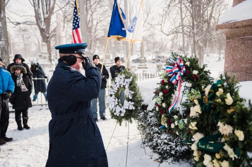 Col. David Warnick commander of the 107th Mission Support Group Niagara Falls Air Reserve Station New York Air National Guard prepares presents a wreath on behalf of the president at the grave of Millard Fillmore the 13th president Buffalo N.Y. Jan. 5 201