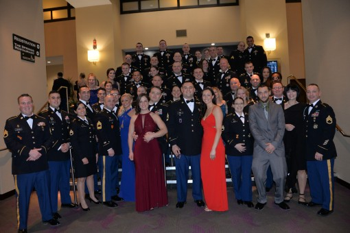 Soldiers of the New York Army National Guard's Recruiting and Retention Battalion gather at the Saratoga Springs Hilton Hotel for the command's awards dinner, on January 6, 2018. The Recruiting and Retention Battalion recognized Soldiers who had