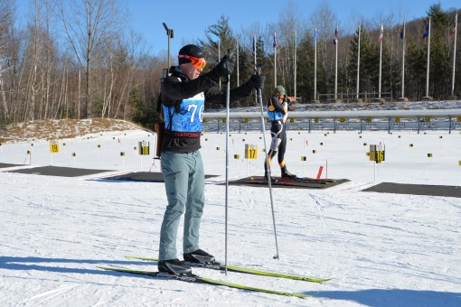 New York Army National Guard  Capt. Joseph Moryl skis during the 2018 National Guard Eastern Regional Biathlon held at the Ethan Allen Training Site, Jericho Vt., January 26, 2018. Two New York Army National Guard Soldiers, Captains Katy and Captains Katy