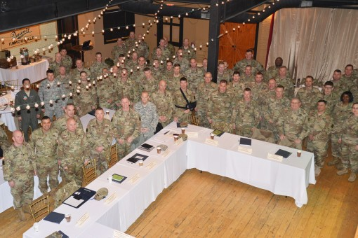 Representatives from the New York Vermont Pennsylvania Rhode Island Texas Massachusetts New Hampshire New Jersey and Ohio Army National Guard New York Air National Guard Army Reserve and the 10th Mountain Division gather for a Northeast Regional Partnersh
