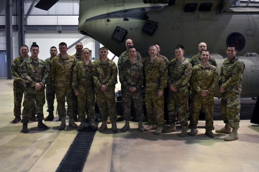 Soldiers assigned to B Company 3rd Battalion of the 126th Aviation Regiment stand together following their Welcome Home Ceremony in Rochester, N.Y., Feb. 10, 2018. The CH-47 aviatiors returned home in November of 2017 from a nine month deployment. This wa