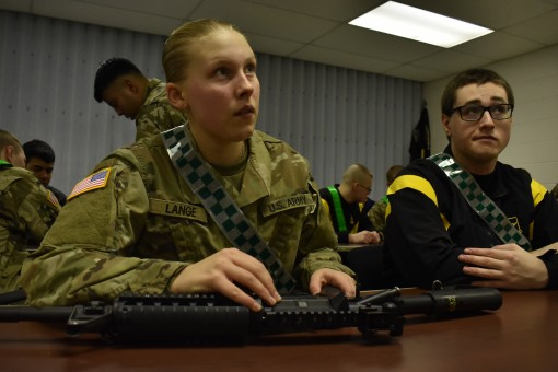 New York National Guard Pvt. Audrey Lange learns how to disassemble and reassemble a M4 rifle in Rochester N.Y. Feb. 10 2018. Lange was in the Recruit Sustainment Program which is a program that prepares Soldiers for Basic Combat Training and Advanced Ind