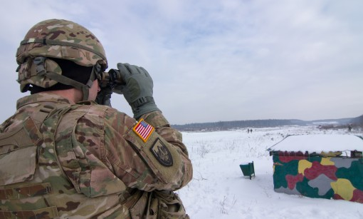 Staff Sgt. Ronald Thomas an infantryman assigned to the New York Army National Guards 2nd Squadron 101st Cavalry and deployed with the Joint Multinational Training Group  Ukraine observes training conducted by Ukrainian Army Soldiers from 3rd Battalion 14