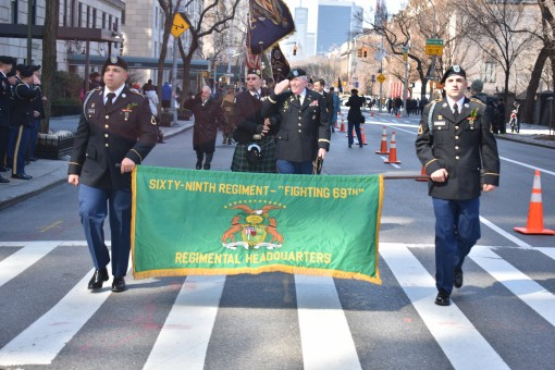 New York Army National Guard Soldiers from 1st Battalion, 69th Infantry Regiment, march in the 257th St. Patricks Day Parade Manhattan, New York City, N.Y., March 17, 2018. The 69th was leading the 257th St. Patricks day parade, as they were created as a