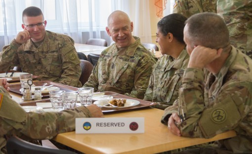 Command Sgt. Major meets with troops in Ukraine