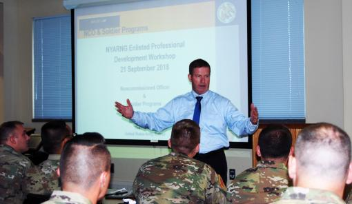 Retired leader speaks to NY Army Guard NCOs