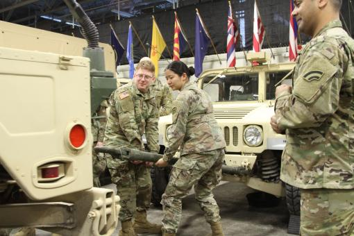 Soldiers assigned to the headquarters battalion of the New York Army National Guards 42nd Infantry Division check vehicles at the division headquarters in Troy N.Y. on Jan. 20 2019 as they prepare to assist local governments as a major snow storm approach