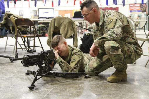 Machine gun training during drill