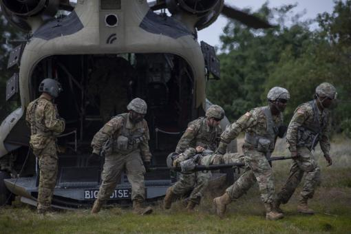 Soldiers conduct casualty drill at Fort Drum