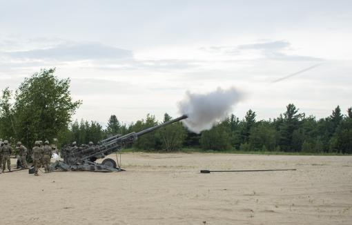 FORT DRUM-New York National Guard Soldiers of 1st Battalion, 258th Field Artillery fire a M777 Howitzer during a live fire exercise at Fort Drum, New York on Tuesday July 30th, 2019. The unit was conducting annual training at Fort Drum along with other el