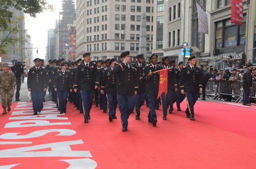 369th Soldiers march in Vets Day Parad