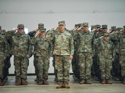 Soldiers assigned to the 42nd Infantry Division form up in front of their families, friends and distinguished guests during a ceremony marking their deployment to the Central Command area of responsibility, Rochester, N.Y., Jan. 11, 2020. The division hea