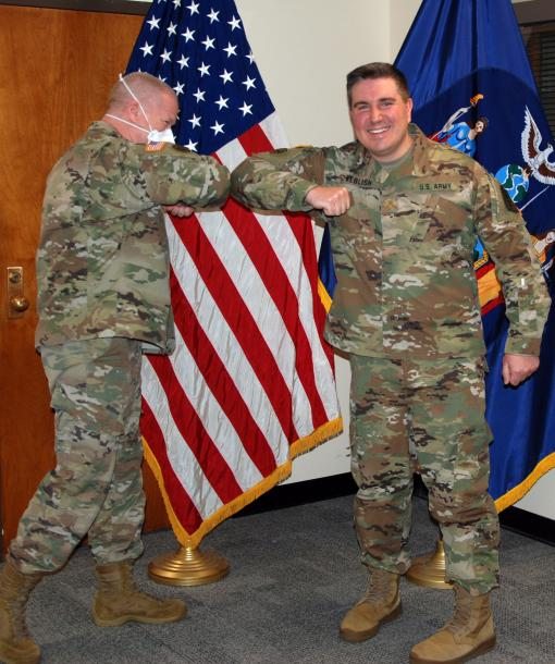 Soldier promoted with COVID 19 precautions