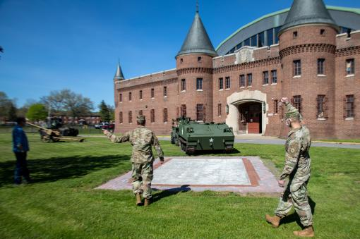 Historic vehicle installed at Utica Armory