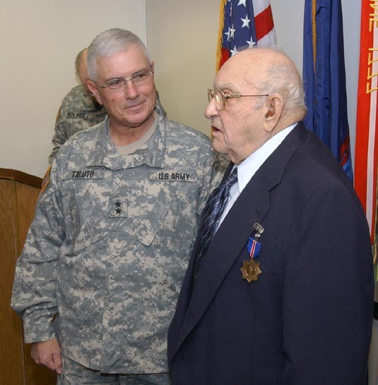 WWII Veteran Nick Grinaldo Receives Conspicious Service Cross, Dec. 27, 2007