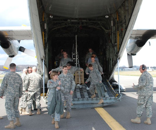 JFHQ deplaning C-130 aircraft Latham NY 12 April 2008