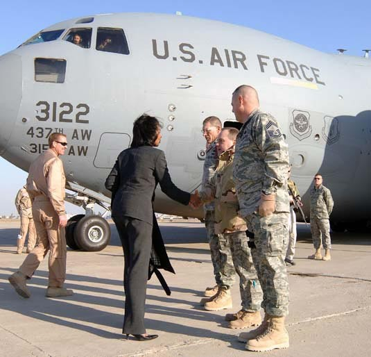 Condolizza Rice w/ 107th ARW - Sather Air Base, Baghdad, Iraq Jan. 15, 2008