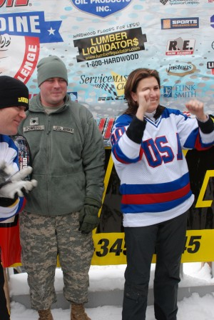 New York Army National Guard Soldiers Speed Down Bobsled Track With Auto Racing Pros