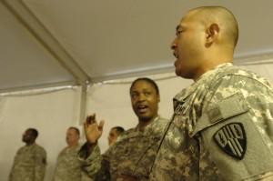 369th Soldiers Take Moment of Silence, Reflect
