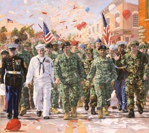 'Coming Home' Painting features Guard Men and Women