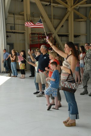 In a Memorial Day sendoff, family members and loved ones gather to bid farewell to members of the 107th Airlift Wing